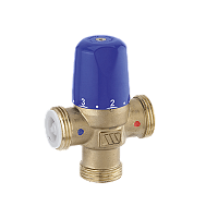 Compact mixing valves for sanitary heating and solar applications