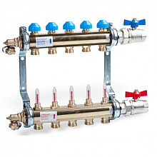 Manifold HKV T Brass Flow Meters for UFH with ball valve set