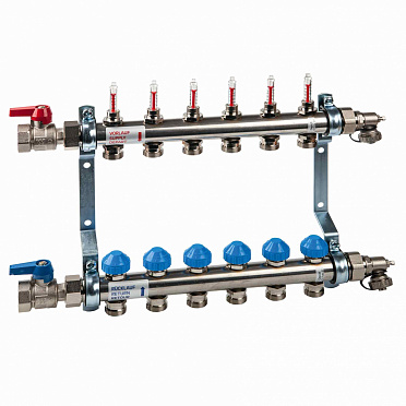Stainless Steel Manifold HKV2013AF+ with Flow Meters for Underfloor Heating equipped with end set and ball valve set