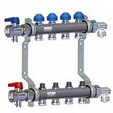 Stainless Steel Manifold HKV2010-VA for Underfloor Heating equipped with accessories